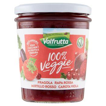 Valfrutta, 100% Veggie preparazione di fragola rapa rossa mirtillo rosso carota viola 330 g