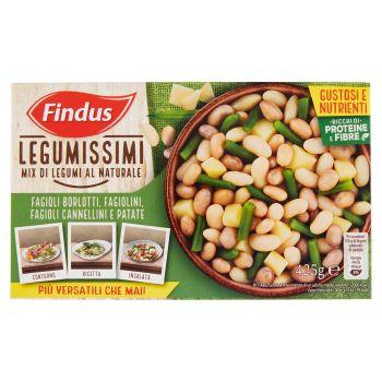 Findus, Legumissimi Mix di Legumi al Naturale fagioli borlotti fagiolini fagioli cannellini e patate surgelati 425 g