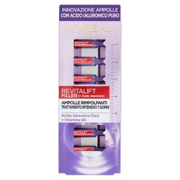 L'Oréal Paris, Ampolle Rimpolpanti Revitalift Filler con acido ialuronico puro concentrato 7 pezzi
