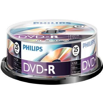 Philips DVD-R 4.7GB, 120 min, 1-16x speed, 25 pezzi