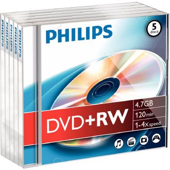 Philips DVD+RW 4.7GB, 120 min, 1-4x speed, 5 pezzi