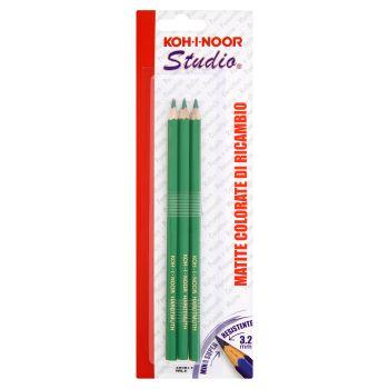Koh-I-Noor, Koh I Noor Studio Matite colorate di ricambio colore verde, 3 pezzi