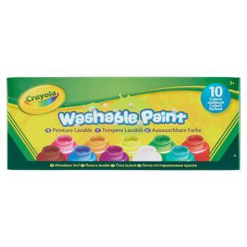 Crayola Tempere lavabilil ideali per bambini, 10 flaconi da 59 ml