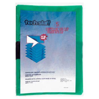Tech Staff Cartelline con clip, formato A4, 5 pezzi, colori assortiti