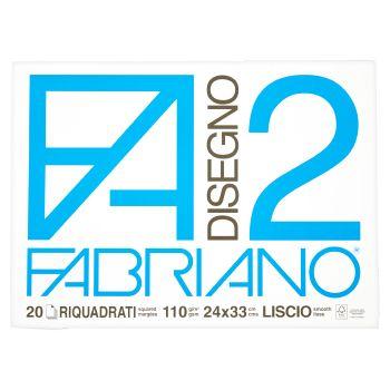 Fabriano Album da disegno F2, 20 fogli riquadrati, 24x33 cm, 110 grammi