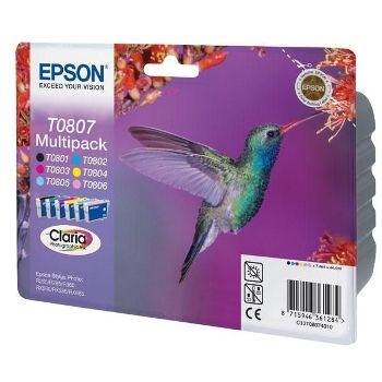 Epson Cartuccia d'inchiostro Multipack T0807, nero, ciano, magenta, giallo, fucsina chiara, ciano chiaro