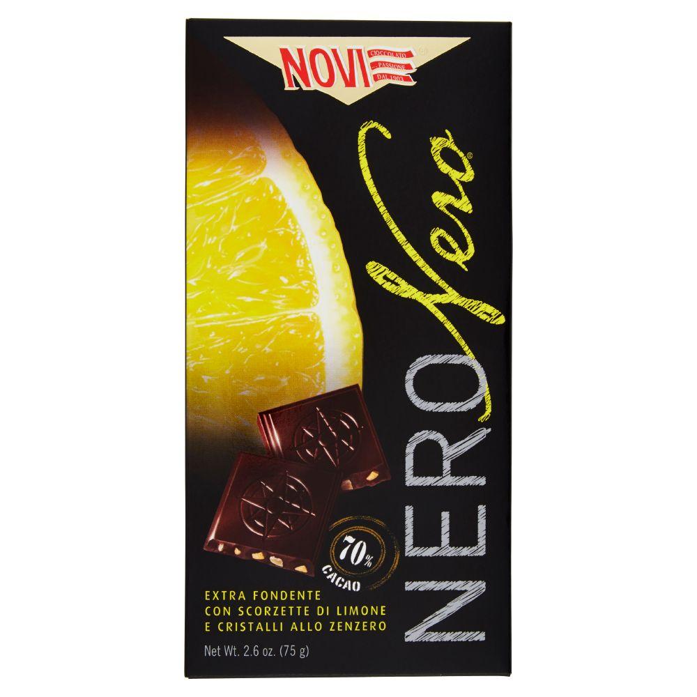 Novi Nero Nero Extra fondente con scorzette di limone e cristalli allo zenzero 70% cacao