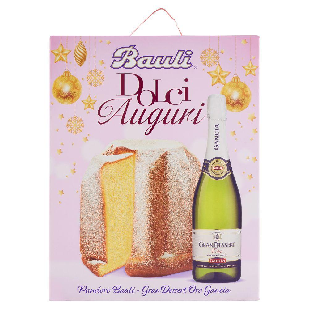 Bauli Dolciauguri, la confezione contiene 1 pandoro Baulirammi, 1 bottiglia GranDessert Oro Gancia 75 cl