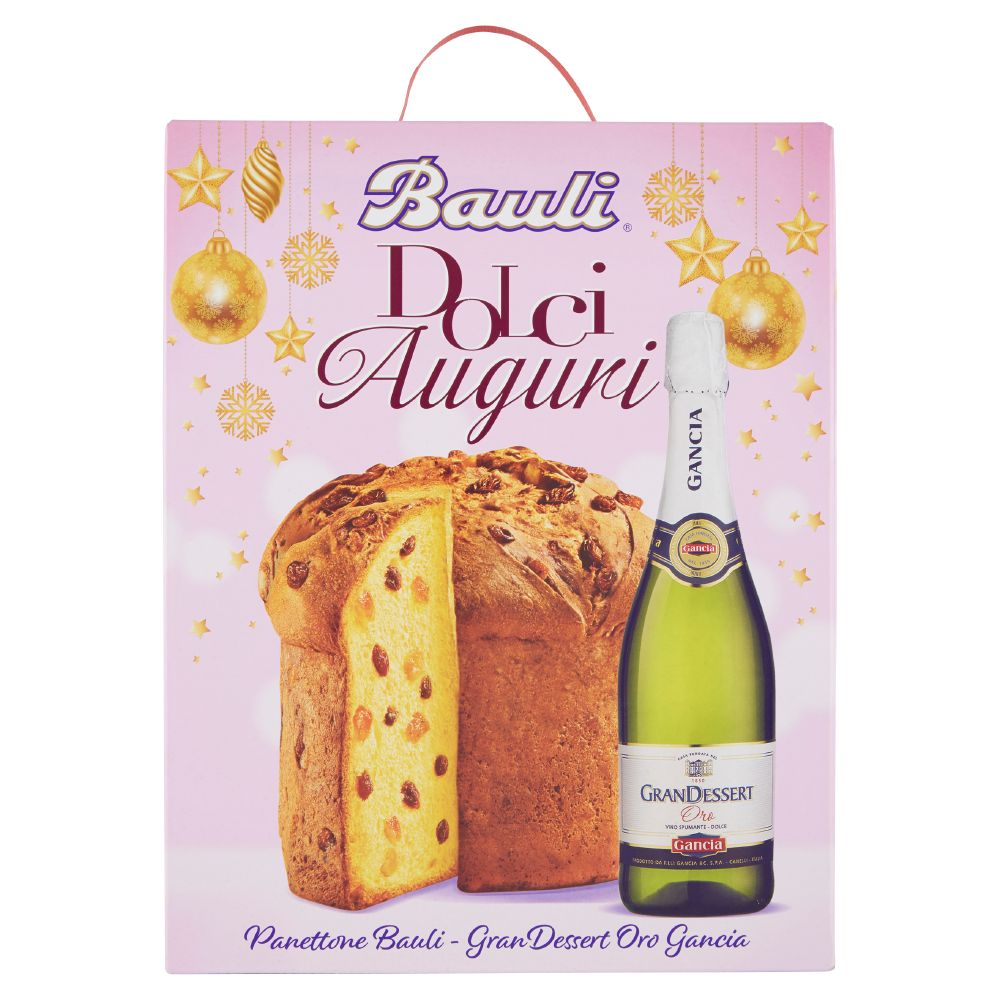 Bauli Dolciauguri, la confezione contiene 1 panettone Baulirammi, 1 bottiglia GranDessert Oro Gancia 75 cl